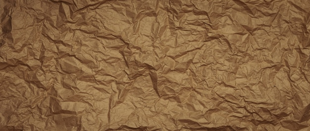Crumpled wrapping paper background. long banner
