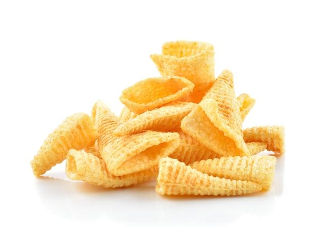 Crunchy corn snacks on a white