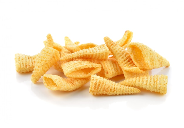 Crunchy corn snacks on a white