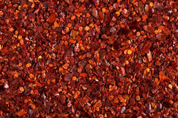 Crushed dried chili pepper red , close-up macro. , copyspace.
