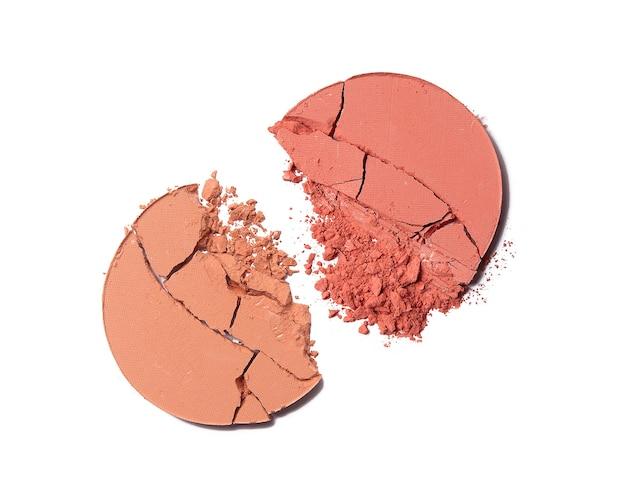 Crushed face powder blush isolated on white