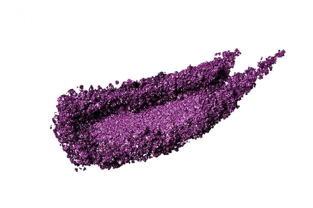 Crushed purple glitter eye shadow smear isolated