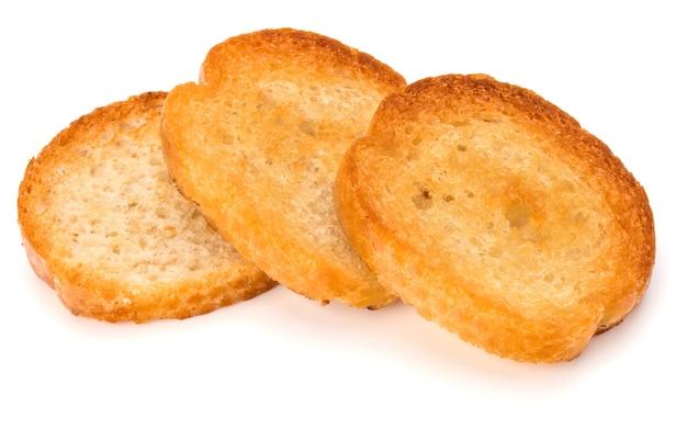 흰색 배경 컷아웃에 고립 된 피 각 질의 빵 토스트 조각
