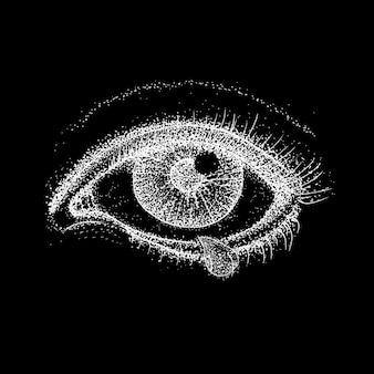 크라잉 아이 오버 블랙. 인간의 시력과 눈물 방울의 래스터 그림. 문신 손으로 그린 dotwork 스케치.