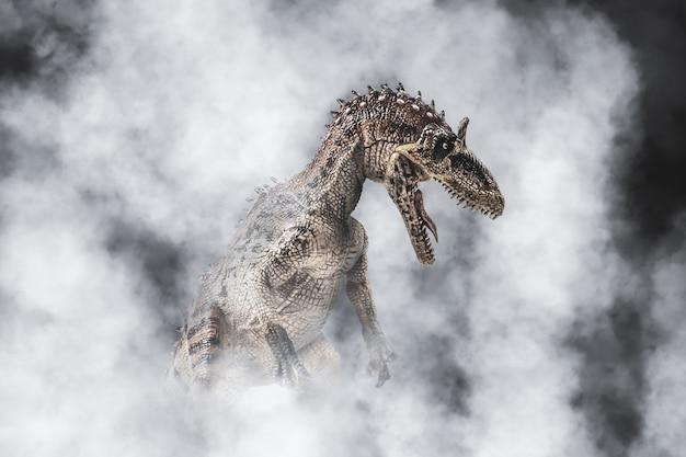 クリョロフォサウルス、煙の背景に恐竜