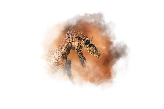 Cryolophosaurus  , dinosaur on smoke background