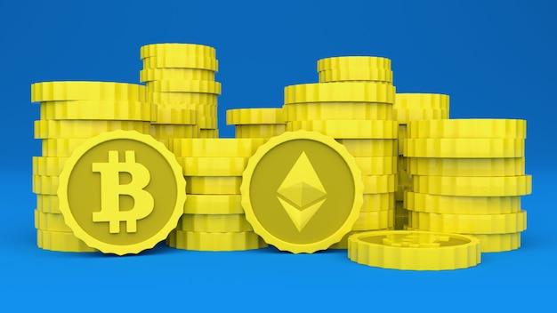 Криптовалюты сложены на синей поверхности. вы можете увидеть логотипы биткойнов и ethereum. 3d иллюстрации.