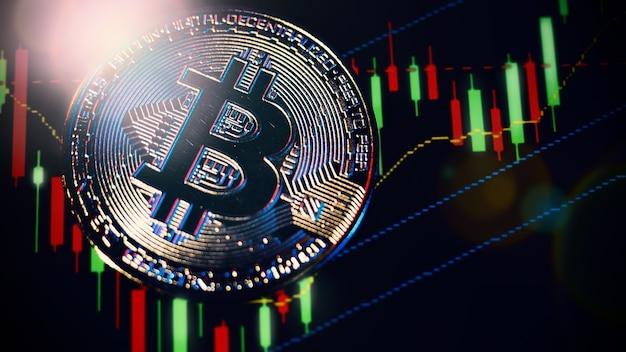 Криптовалюта биткойн и панель графика фондового рынка. криптовалюта. рост акций биткойнов. инвестирование в криптоактивы. инвестиционная платформа с графиками и биткойн-монетой. цифровые деньги фондового рынка.