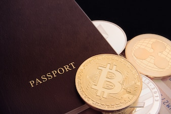 Cryptocurrency bitcoin coin and passport, ethereum, litecoins, internation trading busines