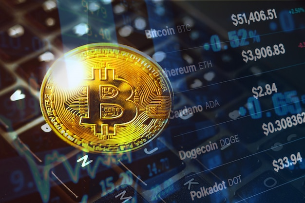 Cryptocurrency bitcoin golden coin