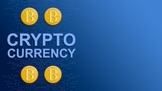 푸른 기술 배경에 cryptocurrency bitcoin 3d