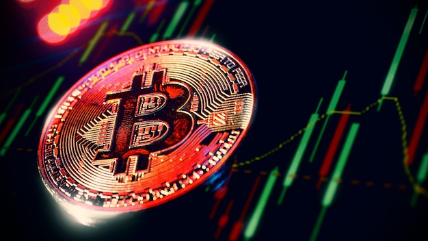 Cryptocurrency bitcoin and stock market graph bar. cryptocurrency. bitcoin stock growth. investing in crypto assets. investment platform with charts and bitcoin coin. stock market digital money.