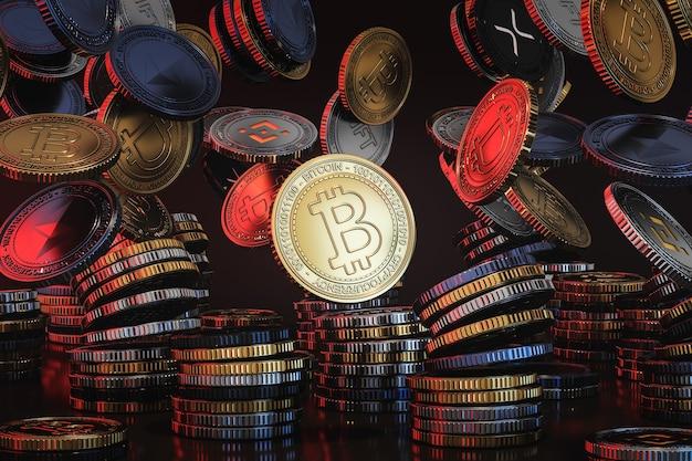 Монеты криптовалюты, падающие сверху на черной сцене, монета цифровой валюты для финансов, продвижение обмена токенов. 3d рендеринг