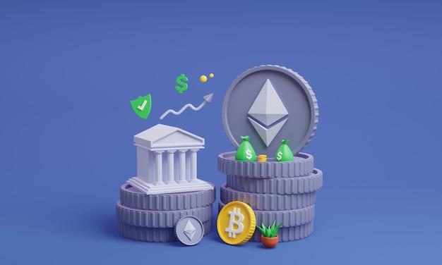 Монеты криптовалюты с сейфом 3d иллюстрации монета эфириума с банком 3d визуализации