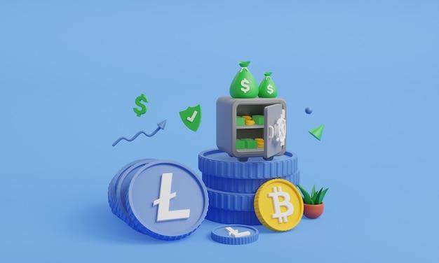 Монеты криптовалюты с сейфом 3d иллюстрации lite монета с банком 3d визуализации