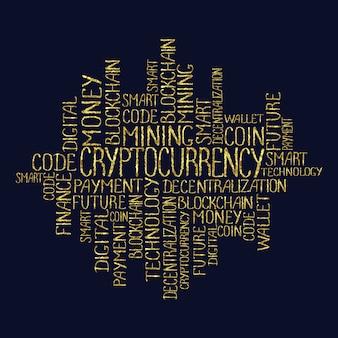 タグクラウドの暗号通貨の概念ブロックチェーンファイナンスウェブマネービジネス