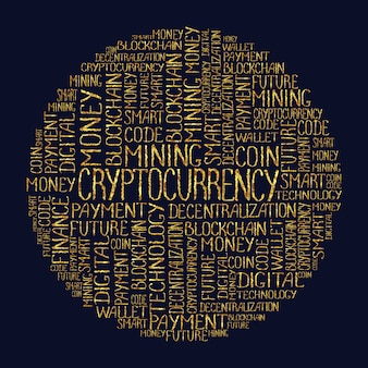 Cryptocurrency concept in tag circle cloud