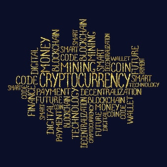 Cryptocurrency concept in tag cloud blockchain finance web money business