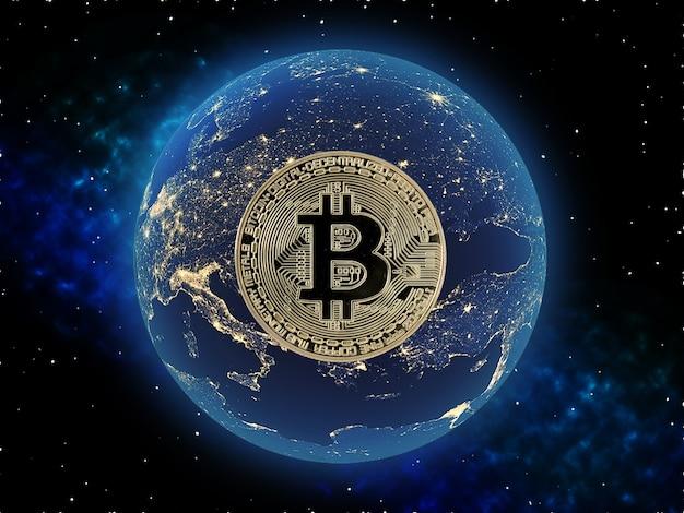 暗号通貨デジタルマネーの概念。ビットコインは世界を変えます。