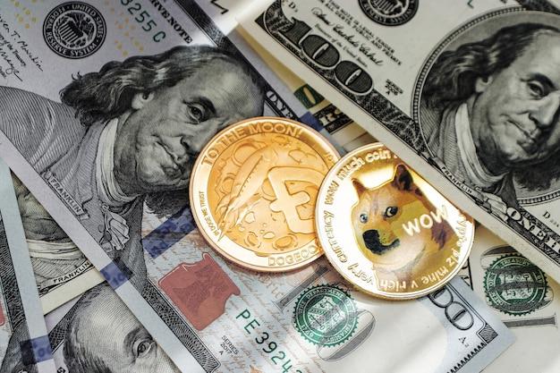 Cryptocurrency, 근접 평면도에서 돈에 dogecoin 동전