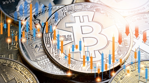 Cryptocurrency and stock market, bitcoin and financial graph