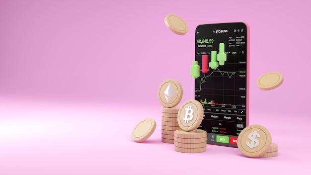 Торговля криптовалютой или биткойн на смартфоне и рост инвестиций в данные фондовой биржи. концепция трейдера. 3d-рендеринг.