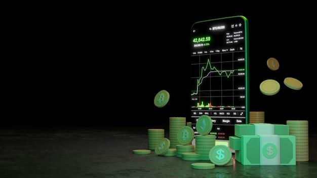 Торговля криптовалютой или биткойн на смартфоне и рост инвестиций в данные биржи. концепция трейдера. 3d-рендеринг.