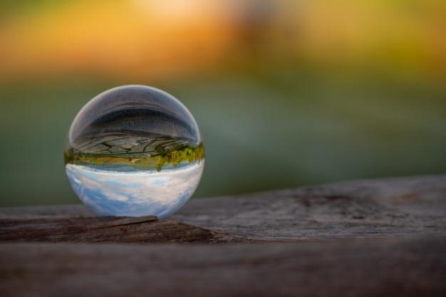 Crystal ball mirror paddy field