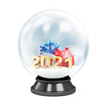 Crystal ball with different christmas accessories on white