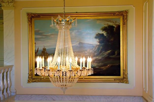 Crystal chandelier, interior of ancient villa in sicily
