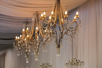 Crystal chandelier with light