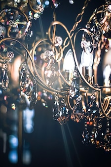 Crystal glass chandelier as home decor interior design and luxury furniture detail holiday invitatio...