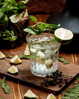 Crystal glass of mojito drink garnished with lime slices