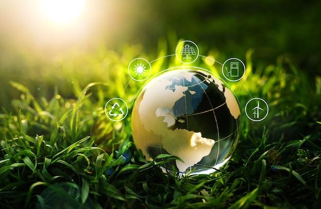 Хрустальный глобус на траве на солнечном фоне со значком энергетических ресурсов