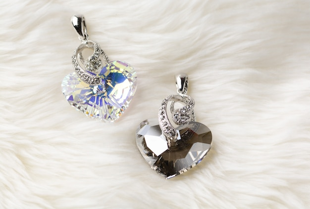 Crystal heart pendant, truly in love heart crystal golden shadow pendant necklace