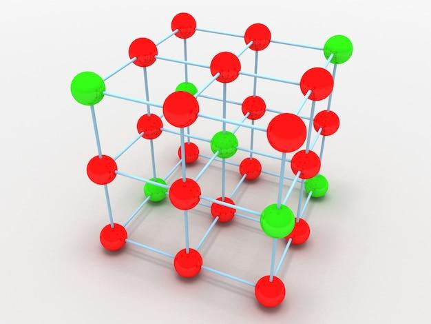 Crystal molecule structure concept. 3d rendered illustration