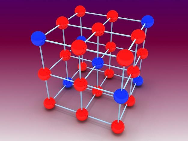 結晶分子構造の概念。 3dレンダリングされたイラスト