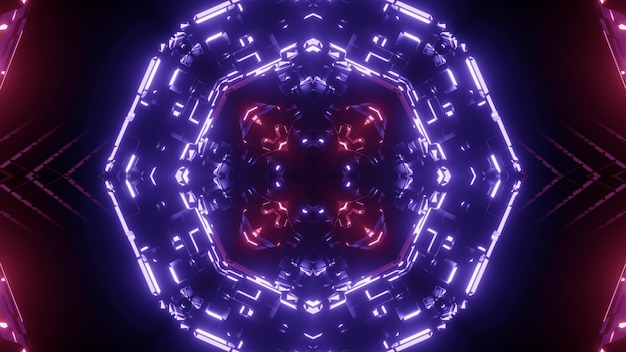 Crystal shaped tunnel with abstract ornament glowing with violet neon light background
