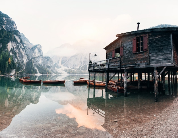 Crystal water. good landscape with mountains. touristic place with wooden building and pear
