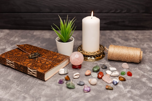 The crystals are arranged in a sacred meditation mandala