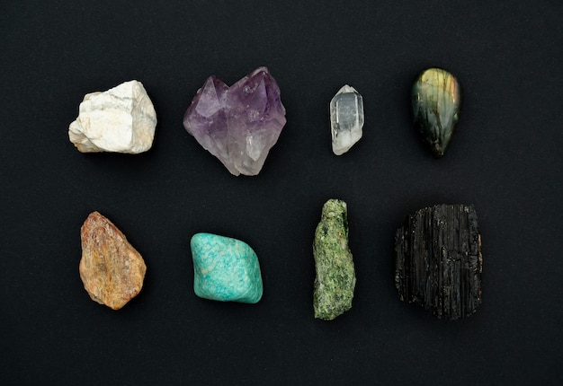 Crystals isolated on dark surface