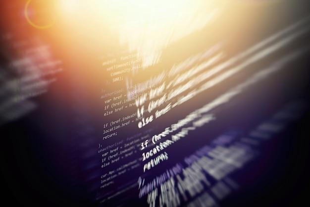 Css, javascript 및 html 사용. 함수 소스 코드의 근접 촬영을 모니터링합니다. 추상 it 기술 배경입니다. 소프트웨어 소스 코드.