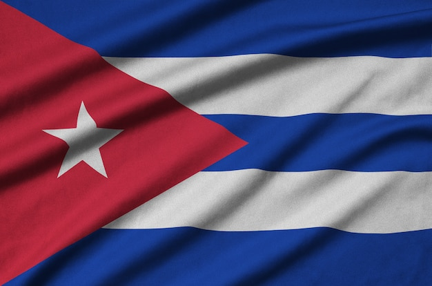 Cuba flag  is depicted on a sports cloth fabric with many folds.