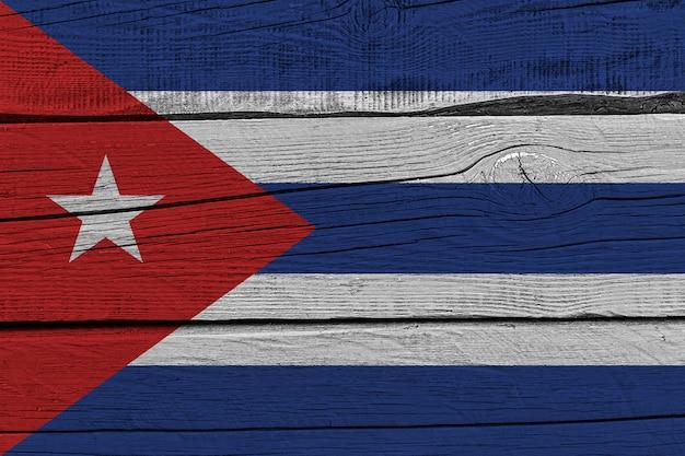 Cuba flag painted on old wood plank