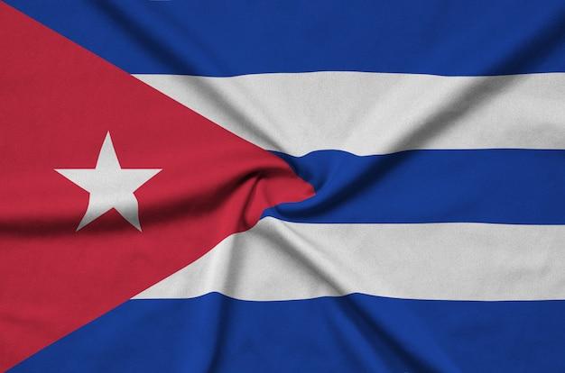 Cuba flag with many folds.