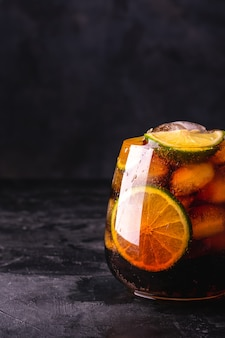 Cuba libre cocktail with ice
