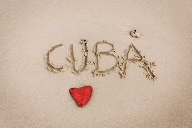 Cuba love sculpted in the sand