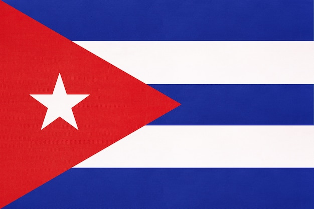 Cuba national fabric flag, symbol of international world america caribbean country