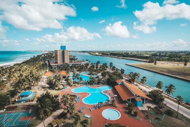 Cuba, varadero tourist resort town. top view. panoramic view of the 20 km long beach of the resort town of varadero.