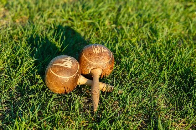 Cuban maracas lie on the green grass.